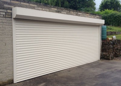 Alluguard roller garage door in cream installed in Sheffield